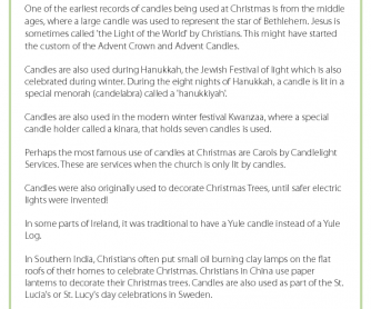 Fact Sheet - Christmas Candles