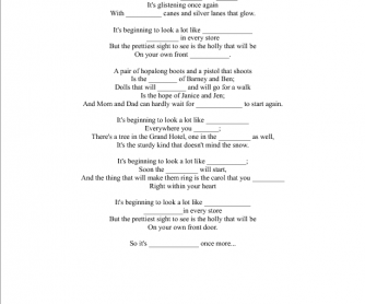 Song Worksheet: It's Beginning to Look a Lot Like Christmas by Michael Buble