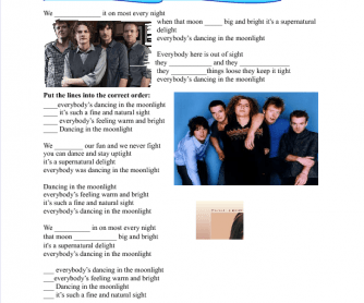 Song Worksheet: Dancing in the Moonlight (Present Simple)