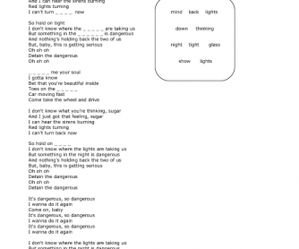 Song Worksheet: Dangerous by David Guetta