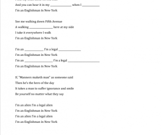 Song Worksheet: Englishman in New York (Discussing Stereotypes)