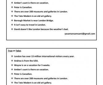 Movie Worksheet: London; New Headway Elementary