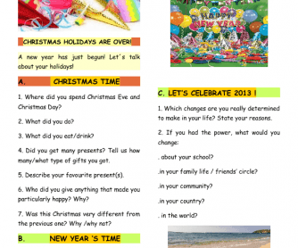 After Christmas Speaking Worksheet