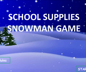 Snowman School Supplies Game