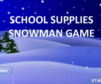 Snowman School Supplies Game