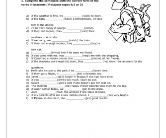 If- Clauses Worksheet