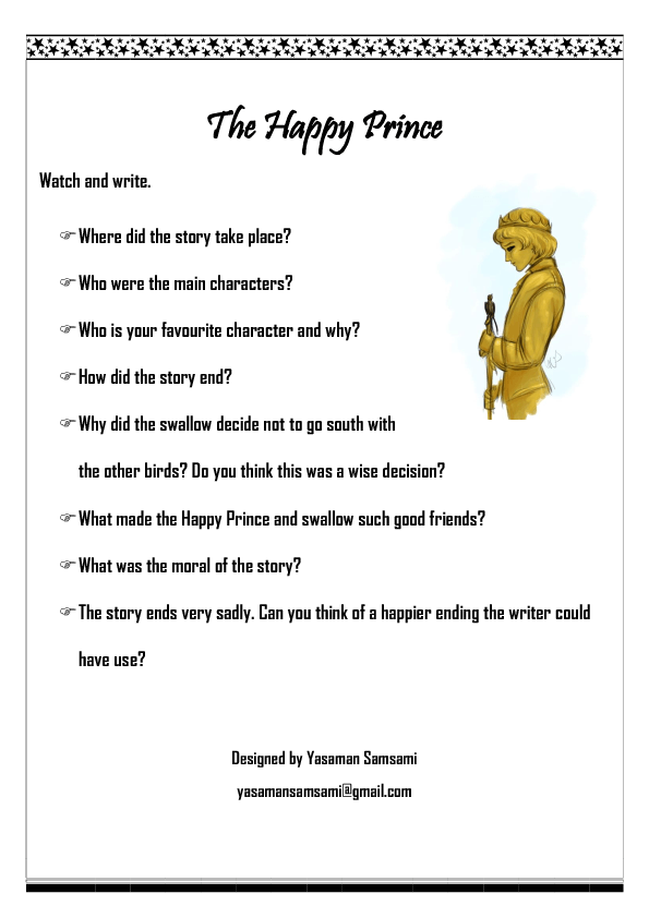 Movie Worksheet: The Happy Prince