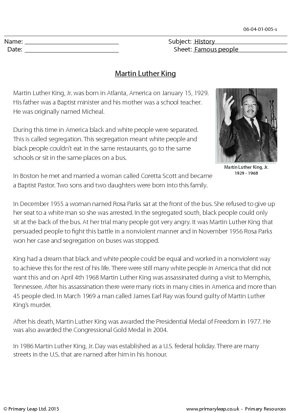 Comprehension Martin Luther King – Martin Luther King Worksheet