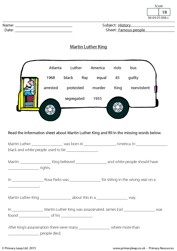 Printables Cloze Reading Worksheets cloze exercise martin luther king