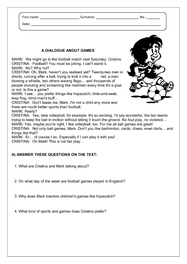 Printables Reading Comp Worksheets sports reading comprehension worksheet