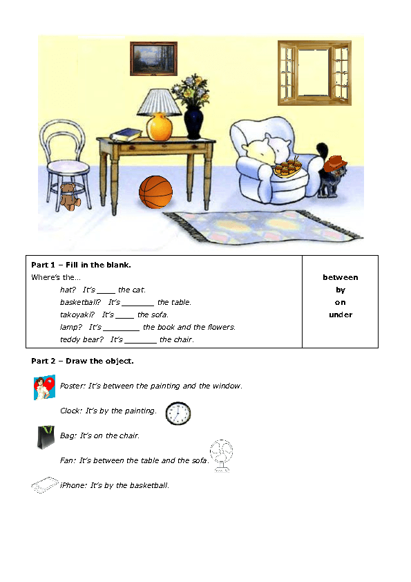 of Place Writing and Drawing PDF – Prepositions of Place Worksheet