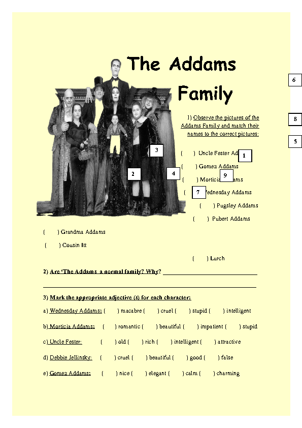 Modern Classroom Posters ~ Movie worksheet the addams family
