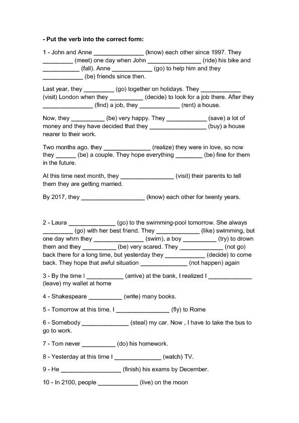 Tense Mix – Perfect Verb Tense Worksheet