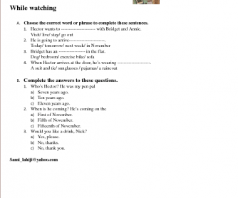 Movie Worksheet: Extra, Episode 1