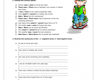 There + to Be – Past Simple Worksheet