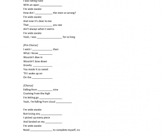 Song Worksheet: Wide Awake by Katy Perry