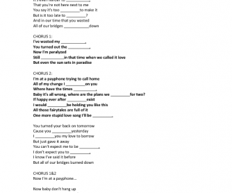 Song Worksheet: Payphone by Maroon 5