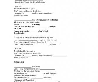 Song Worksheet: Troublemaker by Olly Murs