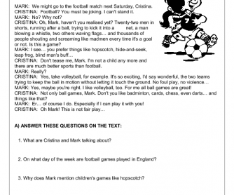 Sports Reading Comprehension Worksheet