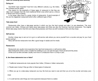 Food Reading Comprehension Worksheet