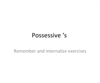 Possessive S Exercises