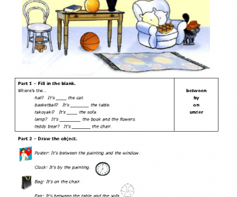 Prepositions of Place - Writing and Drawing [PDF]