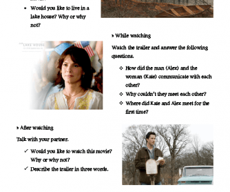 Movie Worksheet: The Lake House Trailer