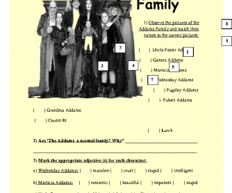 Movie Worksheet: The Addams Family