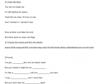 Song Worksheet: Elastic Heart by Sia