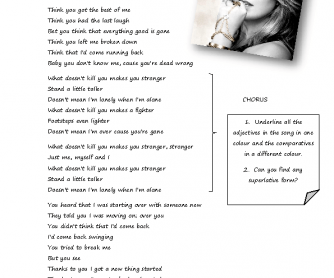 Song Worksheet: Stronger