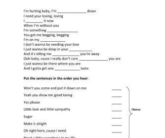 Song Worksheet: Sugar by Maroon 5