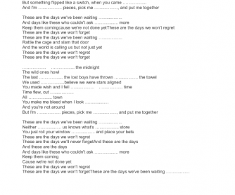 Song Worksheet: The Days by Avicii