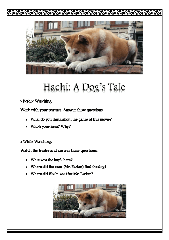 Movie Worksheet Hachi A Dog S Tale Trailer