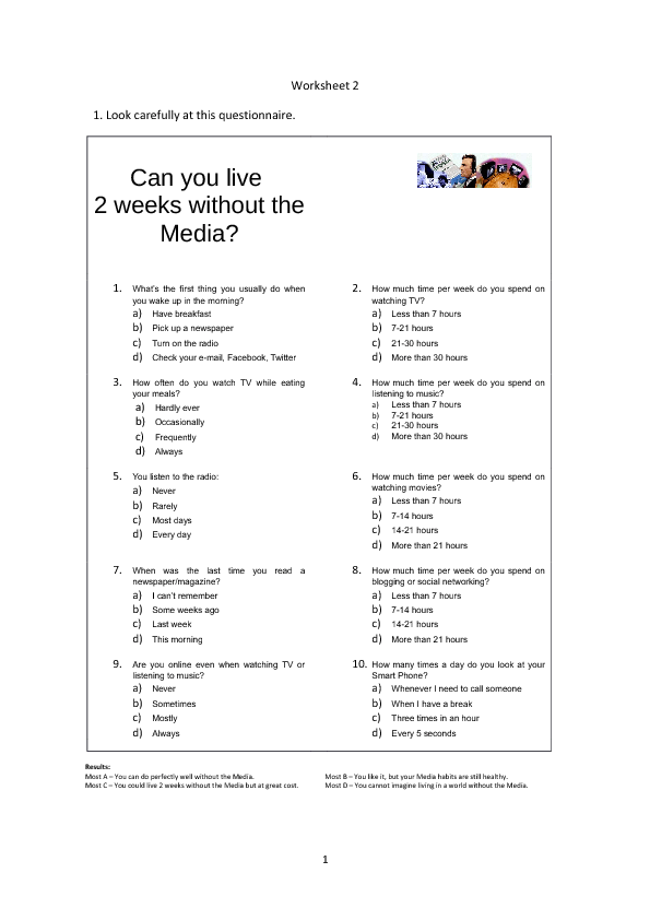 56 Free Mass Media Worksheets