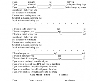 Song Worksheet: If You Were a Sailboat by Katie Melua- 2nd Conditional