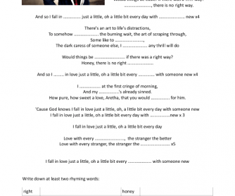 Song Worksheet: Someone New by Hozier