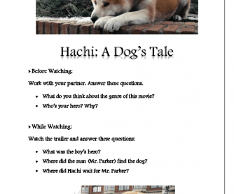 Movie Worksheet: Hachi: A Dog's Tale (Trailer)