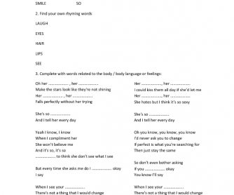 Song Worksheet: Just the Way You Are - Bruno Mars (Body Language)