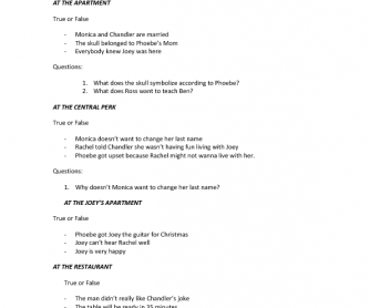 Movie Worksheet: Friends. The Christmas Episode. The One with the Armadillo
