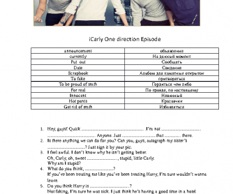 Movie Worksheet: iCarly One Direction Episode