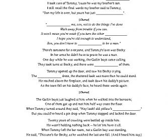 Song Worksheet: Coward Of the County - Listening, Grammar & Vocab