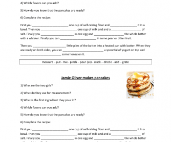 Movie Worksheet: Jamie Oliver Makes Pancakes