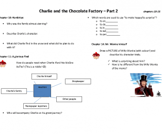 Charlie and the Chocolate Factory - Book Club - Worksheet 2