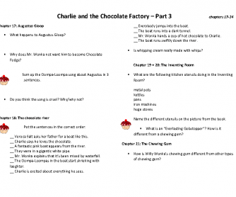 Charlie and the Chocolate Factory - Book Club - Worksheet 3
