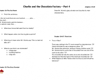 Charlie and the Chocolate Factory - Book Club - Worksheet 4