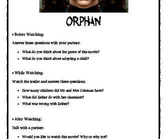 Movie Worksheet: Orphan- Trailer
