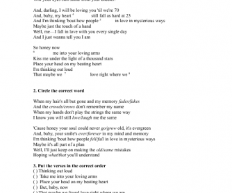 Song Worksheet: Thinking Out Loud