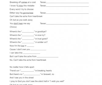 Song Worksheet: There's No Good in Goodbye
