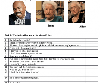 Movie Worksheet: 100 Year Old BFFs (Practise the Reported Speech)