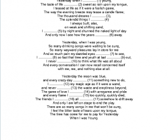 Song Worksheet: Yesterday When I Was Young by Charlez Aznevour
